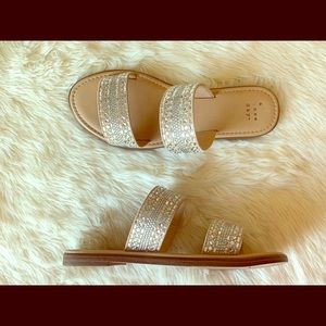 A New Day Crystal Studded Flat Sandals